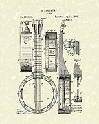 1882 Framed Prints - Banjo 1882 Patent Art Framed Print by Prior Art Design