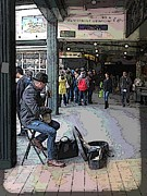 Shoppers Prints - Banjo Busker At The Market Print by Tim Allen