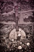 Mandolin Posters - Banjo Mandolin on Garden Wall Poster by Bill Cannon