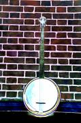 Banjo Prints - Banjo on a Red Brick Wall Print by Bill Cannon