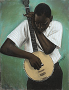 Black Man Pastels - Banjo Player by L Cooper