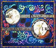 Music Tapestries - Textiles Metal Prints - Banjos - Bordered Metal Print by Sue Duda