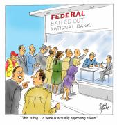 Cartoons Art - Bank Loans by David Lloyd Glover