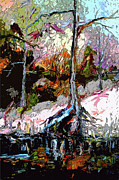 River Banks Paintings - Bank of teh Suwanee River Black Water by Ginette Fine Art LLC Ginette Callaway