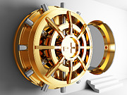 Treasure Box Photo Posters - Bank Vault Door 3d Poster by Gualtiero Boffi