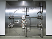Enterprise Metal Prints - Bank Vault Door Exterior Metal Print by Adam Crowley