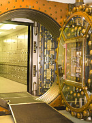 Mechanism Photo Prints - Bank Vault Doors Leading to Safety Deposit Boxes Print by Adam Crowley