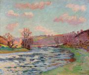 Bank; Clouds; Hills  Prints - Banks of the Creuse Print by Jean Baptiste Armand Guillaumin