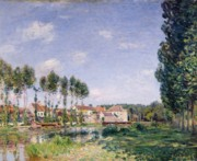 Village Paintings - Banks of the Loing by Alfred Sisley