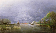 Sailboats In Water Painting Posters - Banks of the Loire in Spring Poster by Charles Leroux