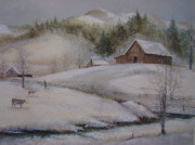 Smokey Mountains Paintings - Banner Elk Winter by Charles Roy Smith
