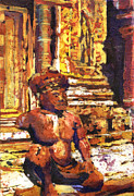 Travel Destination Painting Originals - Banteay Srei statue by Ryan Fox
