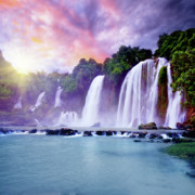 Jungle Beauty Art - Banyue waterfall by MotHaiBaPhoto Prints