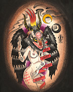 Liquid Painting Prints - Baphomet Print by Kate Collins