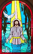 Religious Art Glass Art - Baptisim of Jesus Christ by Gladys Espenson