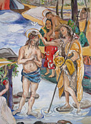 Child Jesus Paintings - Baptism after Pinturicchio and Gauguin by Becky Kim