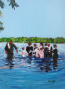 Baptism Painting Posters - Baptism Poster by Molly Wright