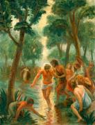 Baptism Paintings - Baptism of Christ by Paul Rhoads