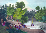 Baptism Photos - Baptism Of Jesus Christ In The River by Everett