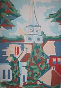 Religious Drawings Originals - Baptist church in Gorham Maine by Joseph Sandora