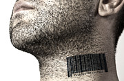 Business Man Prints - Bar code on neck Print by Blink Images