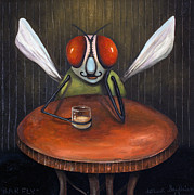 Bistro Painting Acrylic Prints - Bar Fly Acrylic Print by Leah Saulnier The Painting Maniac