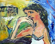 Contemplative Paintings - Bar Lady by John Barney