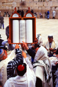 Mitzvah Prints - Bar Mitzvah at the Western Wall  Jerusalem Print by Thomas R Fletcher