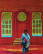 Montreal Cityscapes Paintings - Bar Mitzvah Lesson At The Synagogue by Carole Spandau