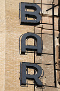 Exterior Prints - Bar. Neon writing Print by Bernard Jaubert