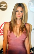 Plunging Neckline Prints - Bar Refaeli Wearing A Herve Leged Dress Print by Everett