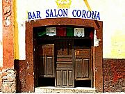 San Miguel De Allende Framed Prints - Bar Salon Corona Framed Print by Olden Mexico