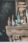 Interior Still Life Mixed Media Originals - Bar Scene by Pati Hays