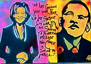 Barack Obama Painting Framed Prints - Barack and Michelle Framed Print by Tony B Conscious