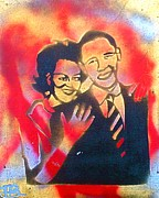 Barack Obama Painting Framed Prints - Barack Love Framed Print by Tony B Conscious