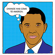 Comic Style Posters - Barack Obama - Change has come to America Poster by Yvan Goudard