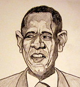 Barack Obama Drawings Prints - Barack Obama - Lifestyles over Livelihood Print by Donald William