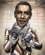 Barack Obama Metal Prints - Barack Obama - Stimulate This Metal Print by Sam Kirk