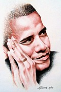 President Barack Obama Drawings Framed Prints - Barack Obama Framed Print by A Karron