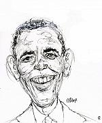 Caricature Drawings Metal Prints - Barack Obama Metal Print by Cameron Hampton PSA