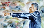 Political Figures Painting Originals - Barack Obama Commander in Chief by Brian Degnon