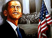 Barack Obama Painting Framed Prints - Barack Obama  Dare to Dream  Framed Print by Richard Klingbeil