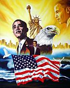 Obama Paintings - Barack Obama by Hector Monroy