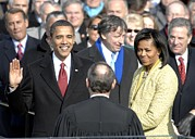 Michelle Obama Photo Metal Prints - Barack Obama Is Sworn In As The 44th Metal Print by Everett