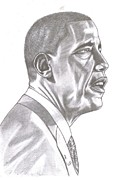 Pencil Drawing Pastels Posters - Barack Obama Pencil Poster by Charleton Davis