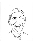 Obama Drawings Posters - Barack Obama Poster by Penny Owens