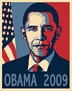 Barack Obama Digital Art Prints - Barack Obama Presidential Poster Print by Sue  Brehant