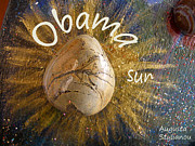 Art Of Barack Obama Posters - Barack Obama Sun Poster by Augusta Stylianou