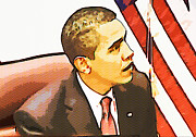 Barack Obama Digital Art Prints - Barack Obama Print by Susan Leggett