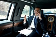 Limousine Framed Prints - Barack Obama Talks To A Member Framed Print by Everett